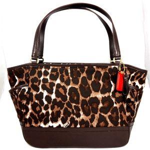 NWT Coach Carrie Tote Ocelot Brown Animal Handbag